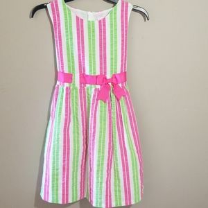 Rare Editions Girls Striped Bow Dress